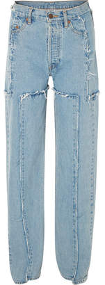 Vetements Distressed Mid-rise Straight-leg Jeans - Light denim