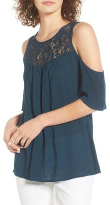 Women's Hinge Lace Cold Shoulder Top $49 thestylecure.com