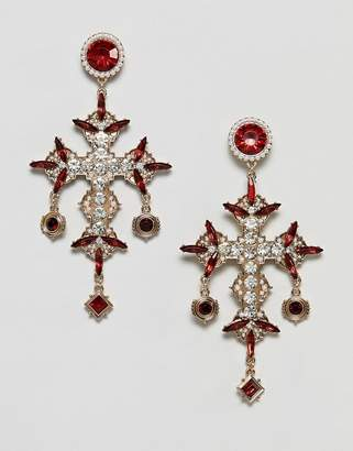 Asos DESIGN earrings in vintage cross design with jewels and pearls in gold