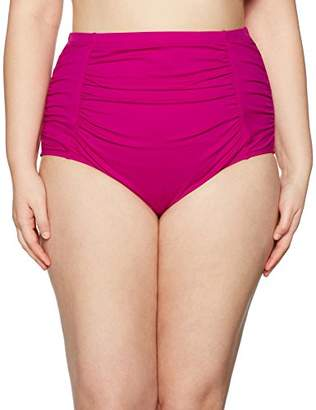 LaBlanca La Blanca Women's Plus Size Island Goddess Shirred High Waist Bikini Bottom
