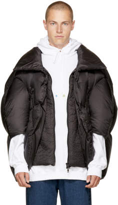 Chen Peng Black Collared Puffer Jacket