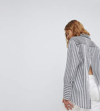 Reclaimed Vintage Inspired Mixed Print Oversized Shirt With Open Back