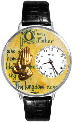 Whimsical Watches Personalized Lords Prayer Womens Silver-Tone Bezel Black Leather Strap Watch