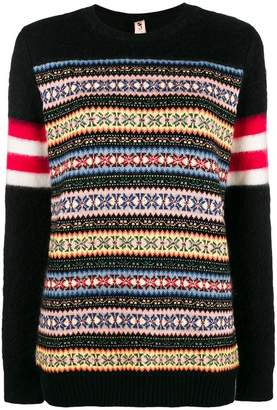No.21 colour-block embroidered sweater