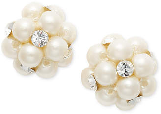 Charter Club Imitation Pearl and Crystal Cluster Earrings, Created for Macy's