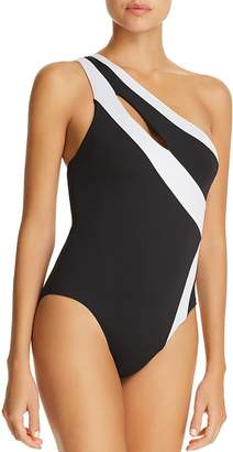 Kenneth Cole One-Shoulder One Piece Swimsuit