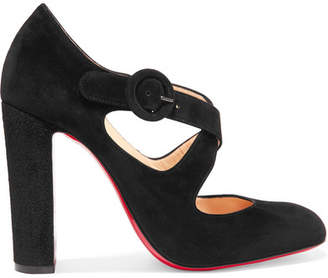 Christian Louboutin Miss Ellen 100 Suede Pumps - Black