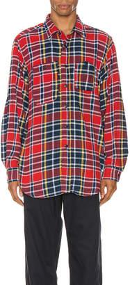 Engineered Garments Work Shirt in Red & Navy | FWRD