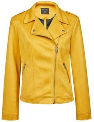 Dorothy Perkins Womens Yellow Suedette Biker Jacket