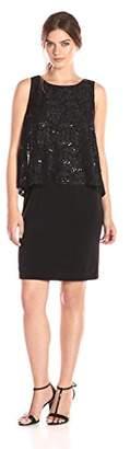 Jessica Howard Women's High Low Sequin Popover Dress