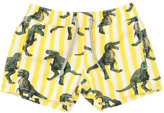 MC2 Saint Barth Striped Dinosaur Print Nylon Swim Shorts