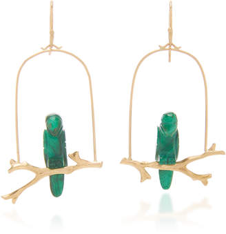 Annette Ferdinandsen Malachite Amazon Parrot Earrings