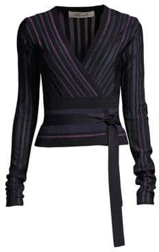 Diane von Furstenberg Laren Metallic Stripe Wrap Sweater