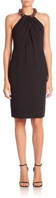 Carmen Marc Valvo Beaded Halter Dress $595 thestylecure.com
