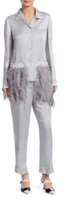 Prada Envers Satin Feather Pocket Pajama Set