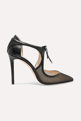 Jimmy Choo Vanessa 100 Cutout Leather And Mesh Pumps - Black