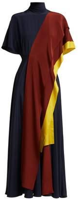Roksanda Arisha Draped Silk Dress - Womens - Blue Multi