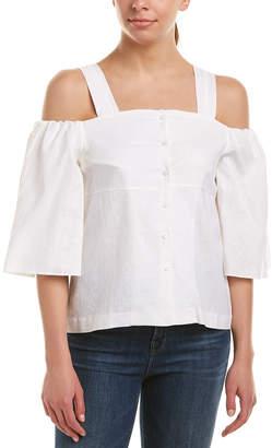 J.o.a. Cold-Shoulder Linen-Blend Top