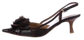 Valentino Fur-Trim Slingback Pumps
