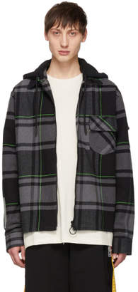 Off-White Grey Check Bubble Hoodie Shirt