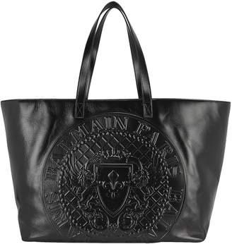 Balmain Stamped Medallion Logo Leather Tote Bag