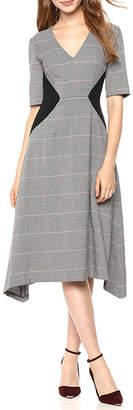 Donna Morgan V-Neck Fit-And-Flare Dress