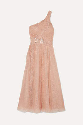 Marchesa One-shoulder Appliquéd Glittered Tulle Gown - Pink
