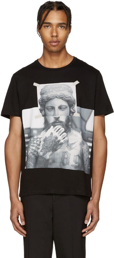 Neil Barrett Black Tattooed Statue T-Shirt