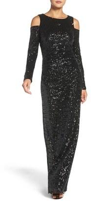 Women's Vince Camuto Cold Shoulder Sequin Gown $228 thestylecure.com