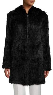 Adrienne Landau Rabbit Fur Zip-Front Coat