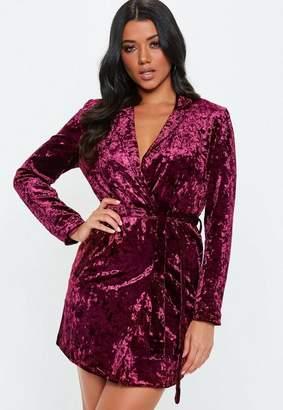 Missguided Burgundy Crushed Velvet Wrap Dress