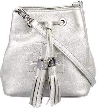 Tory Burch Metallic Leather Logo Bucketbag