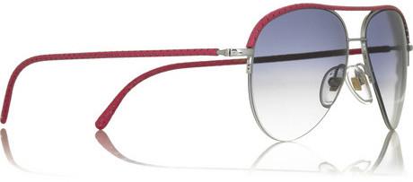Cutler and Gross Leather-trim metal aviator sunglasses