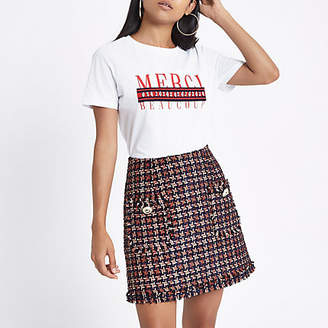 River Island Petite red houndstooth print boucle skirt