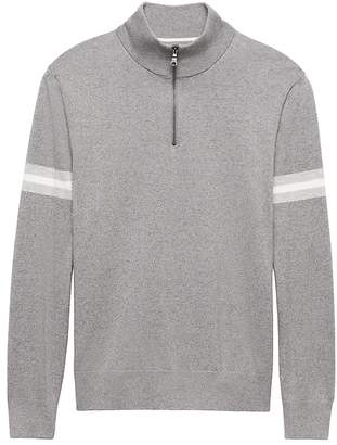 Banana Republic Pima Cotton Cashmere Stripe Half-Zip