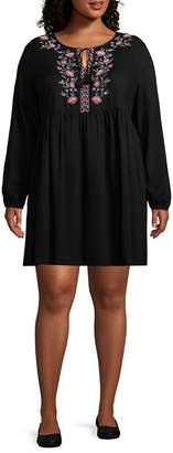 Arizona Long Sleeve Peasant Dress-Juniors