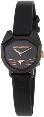 Karl Lagerfeld 36mm Camille Car Watch w/ Leather Strap, Black