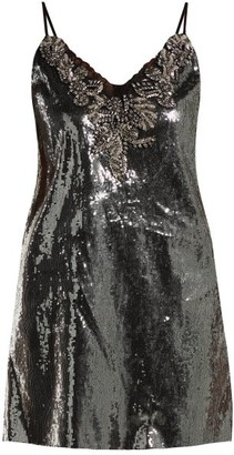 Dundas - Sequin Embellished Mini Dress - Womens - Dark Grey