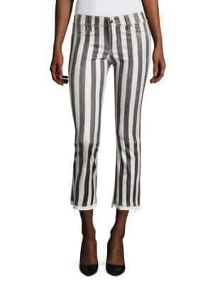 RtA Kiki Striped Cropped Leather Pants