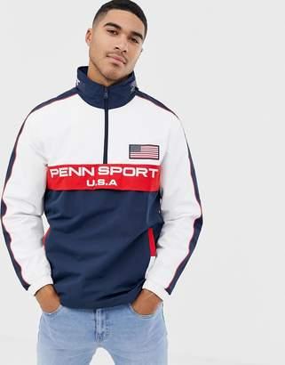 Penn Sport Overhead Jacket in Navy With Hidden Hood
