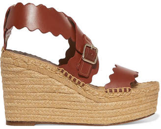 Chloé Lauren Scalloped Leather Espadrille Wedge Sandals - Brown