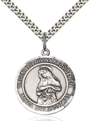 Divina Bonyak Jewelry Saint Medal Collection Custom Engraved Sterling Silver Virgen Providencia Pendant 1 x 5/8 inches with Heavy Curb Chain