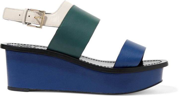 Tory BurchTory Burch Essex color-block leather wedge sandals