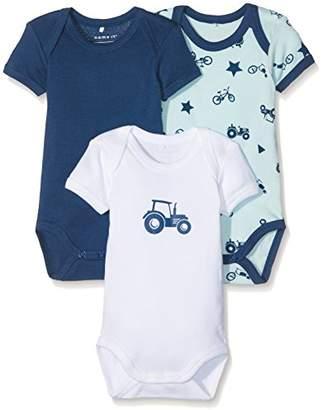 Name It Baby Boys' Nbmbody 3p Ss Ensign Blue Noos Bodysuit,Pack of 3, Multicoloured (Ensign Blue Ensign Blue),(56 EU)