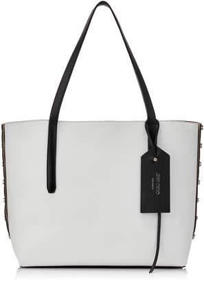 Jimmy Choo TWIST EAST WEST Black and Optical White Mix Leather Tote Bag