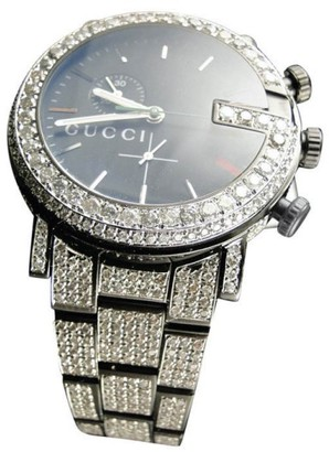 Gucci Ya101331 Watch 17 Ct Diamond Fully Iced Out Mens Watch $27,996 thestylecure.com