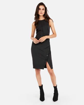 Express Button Skirt Belted Sheath Dress