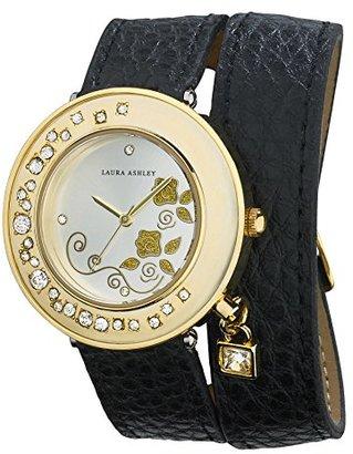 Laura Ashley Women's LA31008BK Analog Display Japanese Quartz Black Watch $345 thestylecure.com