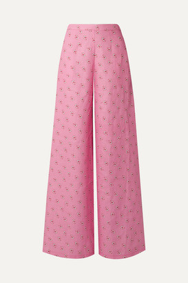 Miguelina Pamela Printed Linen Wide-leg Pants