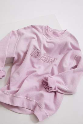 Urban Outfitters Te Amo Embossed Pullover Sweatshirt